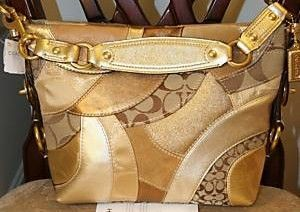 Coach Signature Circle Carly GoldPatchwork Purse 14005