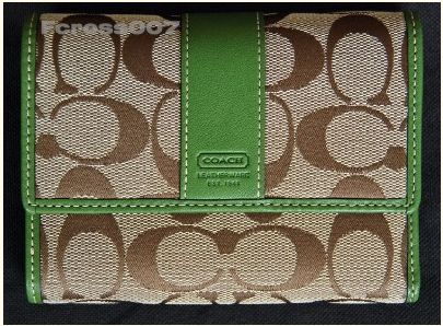 Coach Signature Compact Wallet Khaki and Green 41889