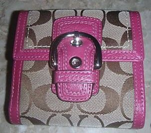 Coach Signature French Purse Wallet Khaki Pink