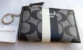 Coach Signature Heritage Coin Purse with Keychain Grey