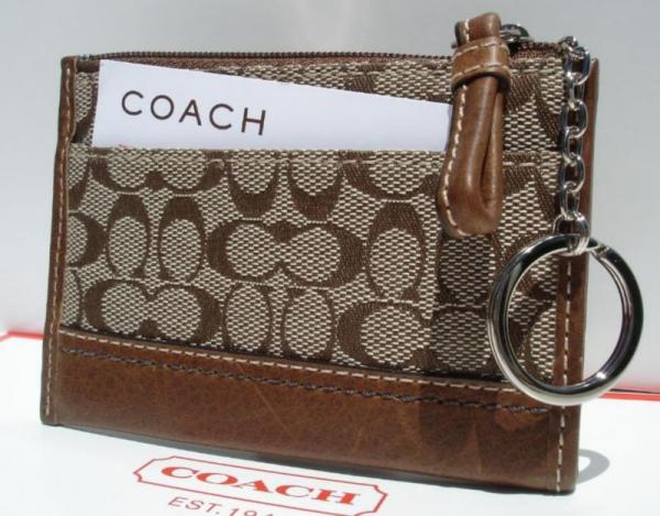 Coach Signature Khaki Mini skinny wallet Back