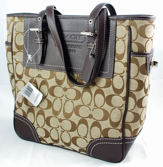 Coach Signature Lunch Tote Khaki Mahogany 10659