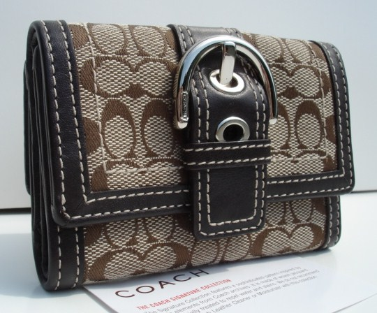 Coach Signature Mini Wallet Khaki Mahogany