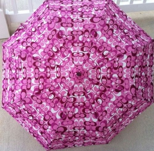 Coach Signature Optic Umbrella Purple Opened