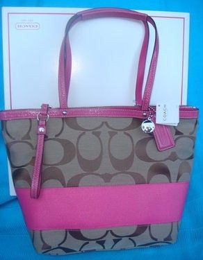 Coach Signature Large Tote Bag -Khaki Pink