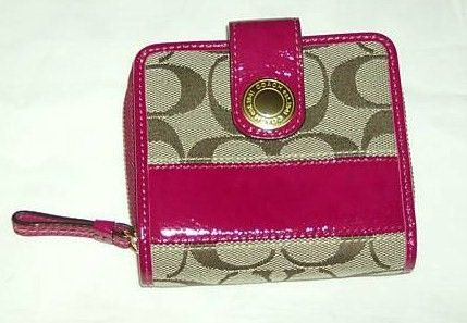 Coach Signature Small Wallet Khaki with Pink Patent Leather