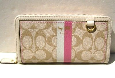 Coach signature stripe accordian wallet summer style 42380