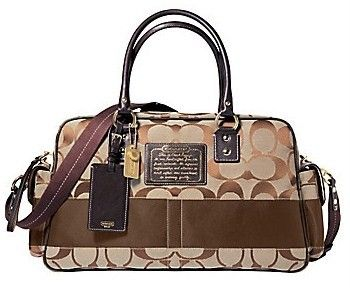 Coach Signature Stripe Boston Travel Bag Khaki