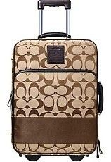 COACH Signature Striped Wheel Along Suitcase Luggage Khaki