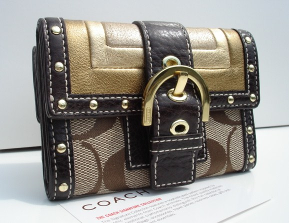 Coach Signature Studded Mini Wallet