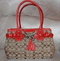 Coach Signature Tote Purse Khaki Orange