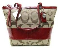 Coach Signature Tote w/Red Trim