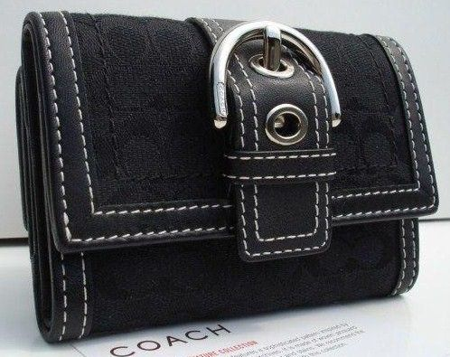 Coach Signature Tri Fold Mini Wallet Black Closed