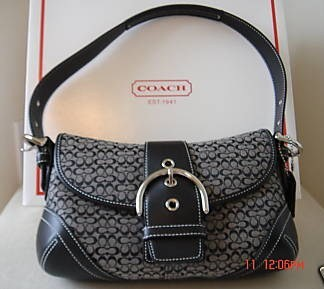 Coach Sm Flap Hobo Purse Black & White