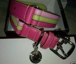 Coach Stripe Dog Collar Pink Green Magenta 60407