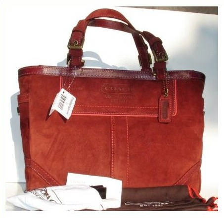 Coach Suede Bordeaux Gallery Tote