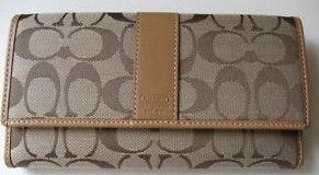 Coach Tri Fold Checkbook Wallet Khaki Front Closed