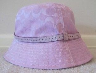 Coach Women's Pink Bucket Hat w Suede Trim