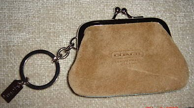 Coach Women's Suede Coin Purse-Keychain