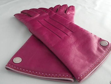 COACH Womens Fuschia Leather Gloves