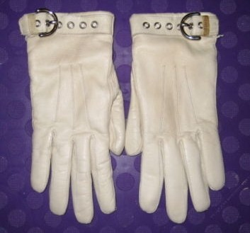 Coach Womens Off-White Leather Gloves