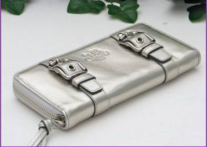 Coach Zoe Platinum Leather Zip Around Wallet