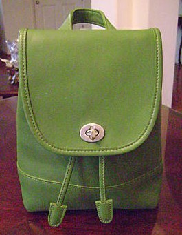 Coach Leather Backpack Green 9960
