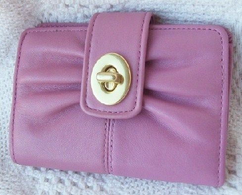 Coach Violet Leather Parker Small Turnlock Wallet