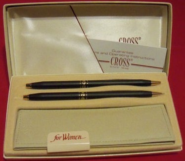 Cross Vintage Ladies Pen/Pencil Set-Classic Black #254105 NOS
