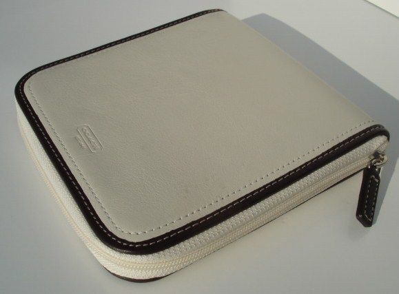 Coach Parchment White Leather CD Travel Case