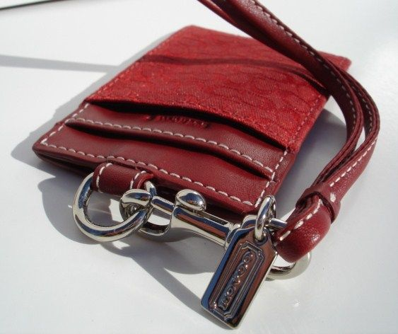 Coach Signature ID Card Holder Lanyard