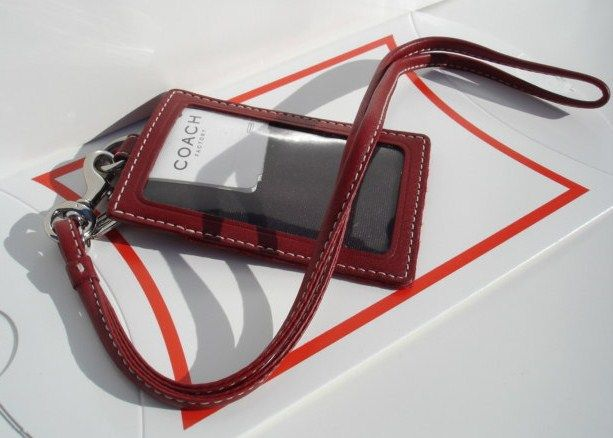 Coach ID Card Holder Neck Lanyard Cardinal Red