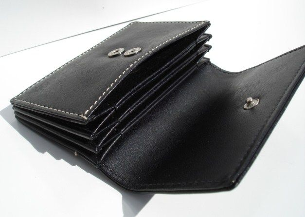Ladies Card Wallet Black Leather