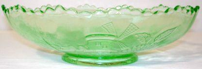 Depression Glass Chrysanthemum Vaseline Green Bowl Side View