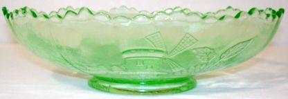 Depression Glass Chrysanthemum Vaseline Green Bowl Side View