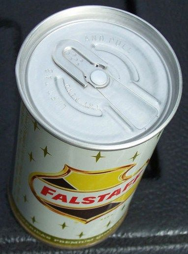 Falstaff Zip Tab Top Beer Can Overhead View