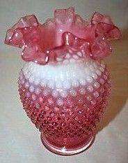 Fenton Art Glass Cranberry Opalescent Hobnail 6 inch Vase