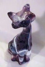 Fenton Art Glass Purple Slag Large Alley Cat Figurine