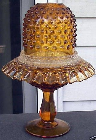 Fenton Colonial Amber Glass Hobnail Fairy Lamp 3 Piece