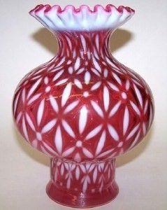 Fenton Cranberry Opalescent Globe Vase