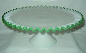 Fenton Glass Emerald Crest High Footed Cake Stand