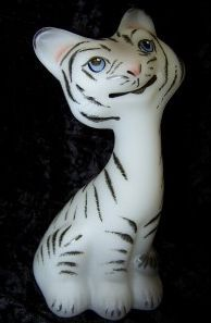 Fenton Glass Satin White Tiger 6 inch Happy Cat
