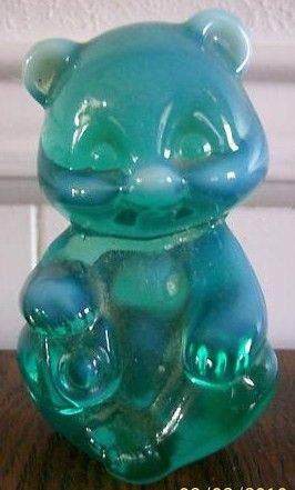 Fenton Green Opalescent Bear Figurine