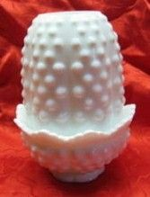 Fenton Hobnail Milk Glass Fairy Lamp Light