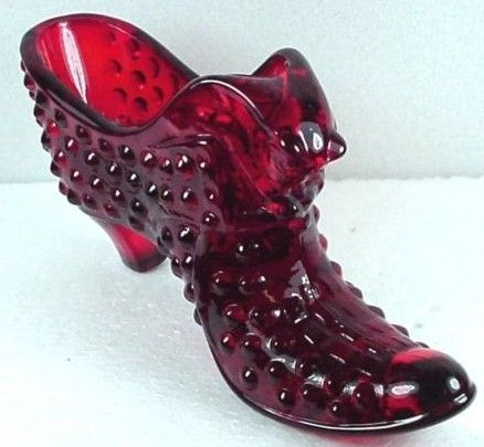 Fenton Hobnail Ruby Red Art Glass Slipper Shoe with Cat