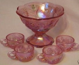 Fenton Fenton Mini Punch Bowl Set Iridized Pink