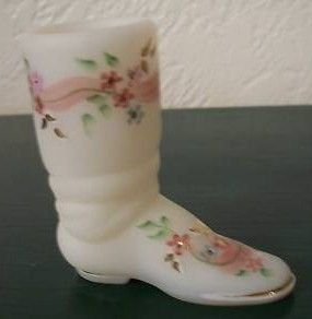 Fenton Mini White Custard Glass Boot