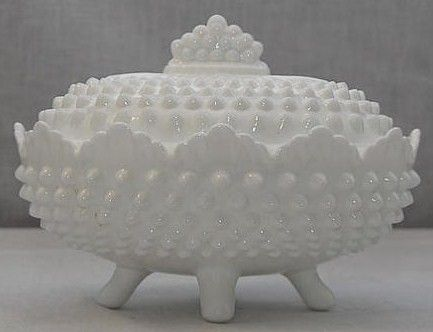 Fenton Opaque Milk Glass Hobnail Oval Footed Bowl
