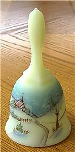 Fenton Princess Housse Glass Christmas Bell Signed 1980