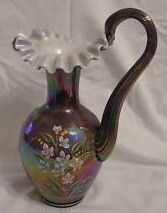 Fenton QVC Iridized Plum Overlay Floral Painted Pitcher